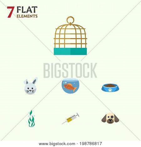 Flat Icon Pets Set Of Bird Prison, Fishbowl, Bunny And Other Vector Objects