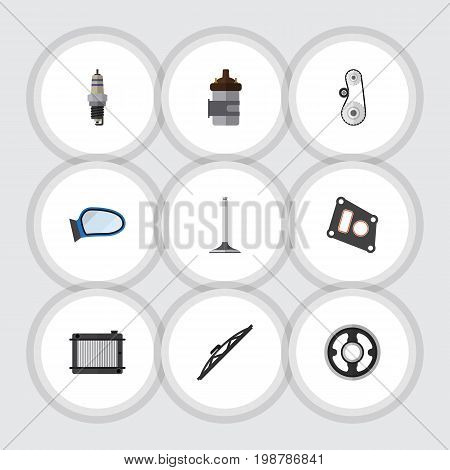 Flat Icon Parts Set Of Gasket, Car Segment, Auto Component And Other Vector Objects