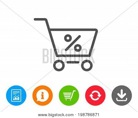 Shopping cart with Percentage line icon. Online buying sign. Supermarket basket symbol. Report, Information and Refresh line signs. Shopping cart and Download icons. Editable stroke. Vector