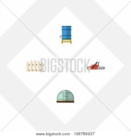 Flat Icon Farm Set Of Hacksaw, Wooden Barrier, Hothouse And Other Vector Objects
