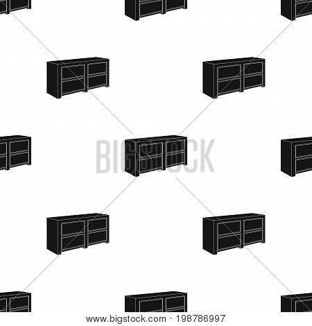 Brown bedside table with drawers.Nightstand next to the bed.Bedroom furniture single icon in black style vector symbol stock web illustration.