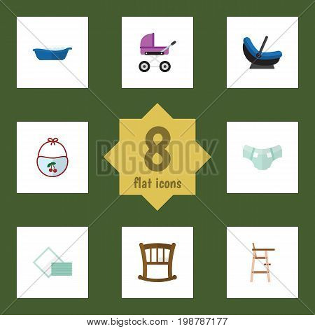 Flat Icon Infant Set Of Napkin, Stroller, Pinafore And Other Vector Objects