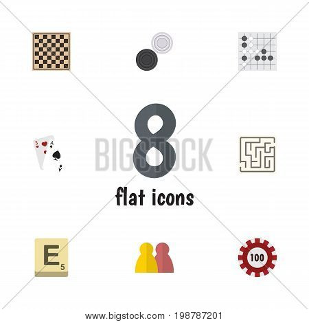 Flat Icon Entertainment Set Of Labyrinth, Gomoku, Mahjong And Other Vector Objects