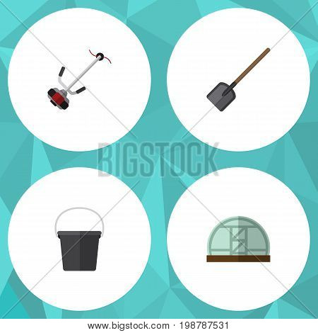 Flat Icon Garden Set Of Shovel, Hothouse, Pail And Other Vector Objects