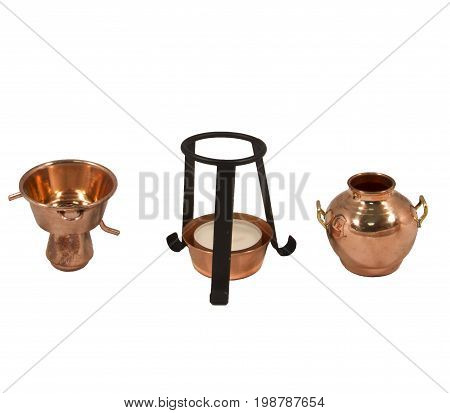 The Alquitar is the still of choice in Portugal and Spain and used mainly for the production of Grappa, Calvados and Aquardente or Eau-de-Vie