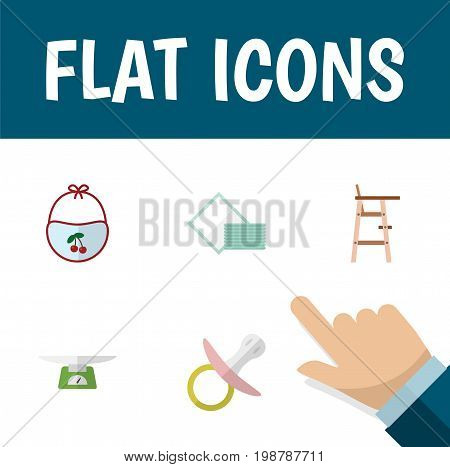Flat Icon Child Set Of Children Scales, Child Chair, Napkin And Other Vector Objects