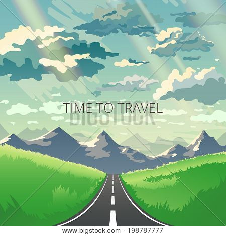 Vector illustration with mountains, Himalayas, grass and beautiful sky. Road trip concept in modern flat style. Web banner on the theme of adventures in nature, vacation.