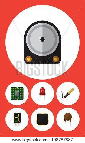 Flat Icon Technology Set Of Display, Hdd, Unit And Other Vector Objects