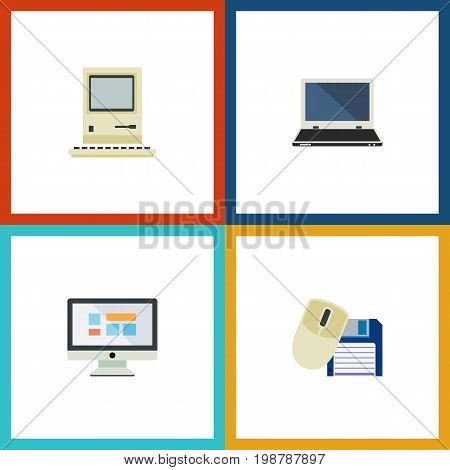 Flat Icon Computer Set Of Computing, Computer Mouse, Display And Other Vector Objects