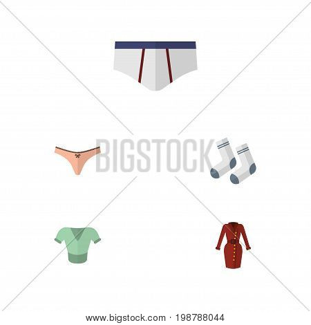 Flat Icon Garment Set Of Foot Textile, Underclothes, Lingerie And Other Vector Objects