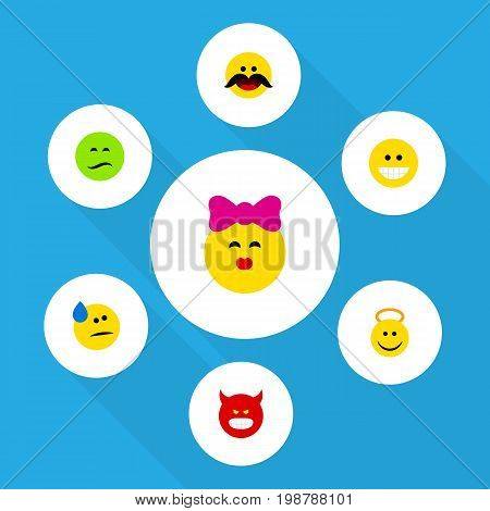 Flat Icon Face Set Of Tears, Caress, Pouting And Other Vector Objects