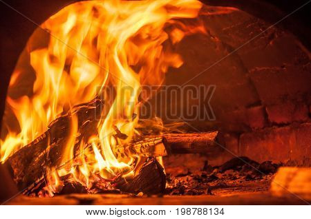 A Big Fire In The Fireplace