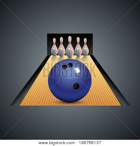 Bowling icon with ball and bowling pins. Vector bowling game center background template leisure.