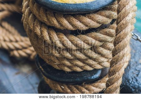 A Thick Rope On A Ship, A Ferry For Tethering