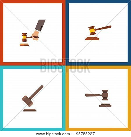Flat Icon Court Set Of Tribunal, Hammer, Legal And Other Vector Objects