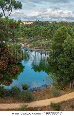 Scenic view of Bucaquinho Natural Park Ovar north of Portugal