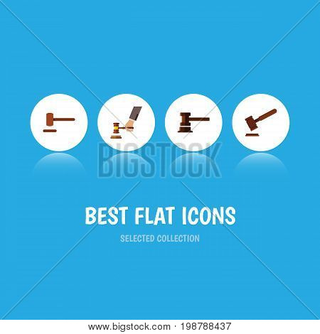 Flat Icon Hammer Set Of Defense, Justice, Crime And Other Vector Objects