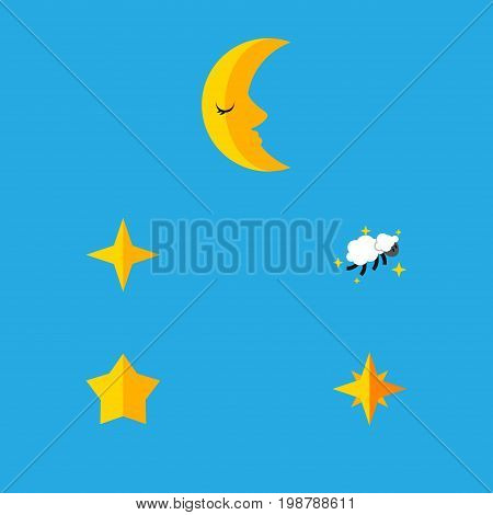 Flat Icon Midnight Set Of Moon, Star, Asterisk And Other Vector Objects