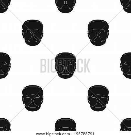 Boxing helmet icon in black style isolated on white background. Boxing symbol vector illustration.