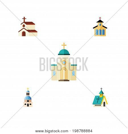 Flat Icon Building Set Of Religious, Church, Architecture And Other Vector Objects