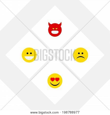 Flat Icon Gesture Set Of Pouting, Grin, Love And Other Vector Objects
