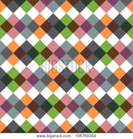 Colored rhombic geometric seamless pattern. Stylish background.