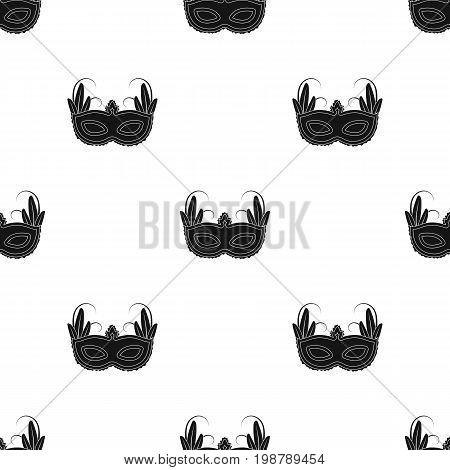 Brazilian carnival mask icon in black design isolated on white background. Brazil country symbol stock vector illustration.