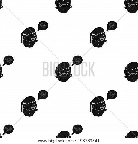 Businessman dreaming about money icon in black design isolated on white background. Conference and negetiations symbol stock vector illustration.