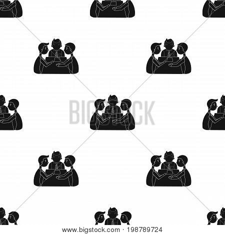 Conference icon in black design isolated on white background. Conference and negetiations symbol stock vector illustration.