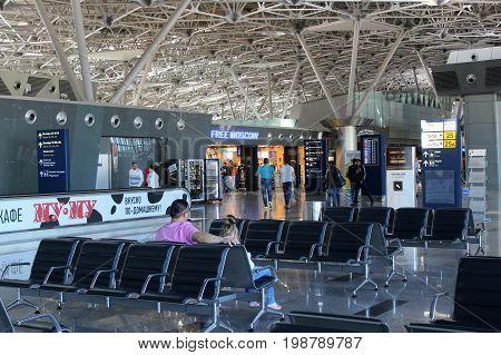 Passengers awaiting their flight at the Vnukovo International Airport (Moscow) - July 2017.