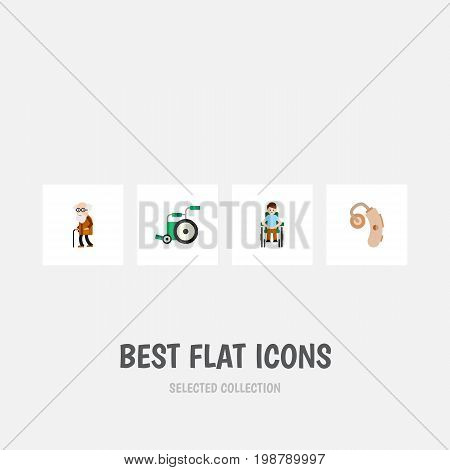 Flat Icon Disabled Set Of Audiology, Equipment, Disabled Person And Other Vector Objects