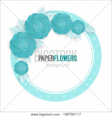 Flowers background with three dimensional blue rose isolated on white background vector illustration, invitational banner with place for text