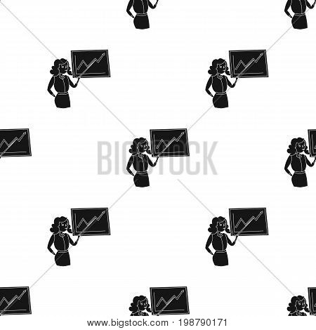 Businesswoman and growing graphic icon in black design isolated on white background. Conference and negetiations symbol stock vector illustration.