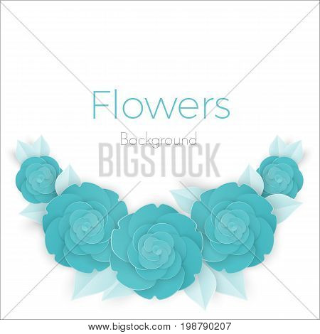 Flowers background with three dimensional blue rose with petals isolated on white background vector illustration, invitational banner with place for text