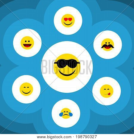 Flat Icon Face Set Of Cold Sweat, Cheerful, Smile And Other Vector Objects