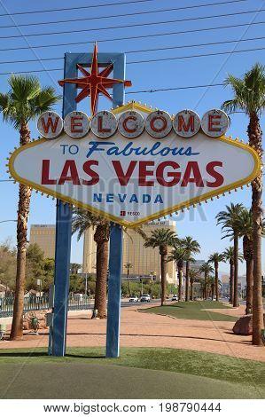 LAS VEGAS, USA - JULY 01, 2017: Welcome to Fabulous Las Vegas in Nevada. USA