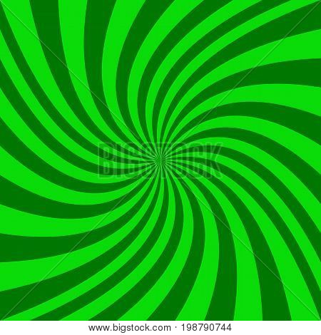 Abstract spiral design background from radial green swirling ray stripes - vector illustration