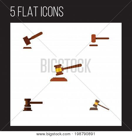 Flat Icon Court Set Of Court, Government Building, Justice And Other Vector Objects