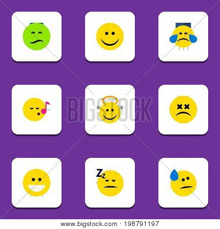 Flat Icon Expression Set Of Tears, Frown, Angel And Other Vector Objects