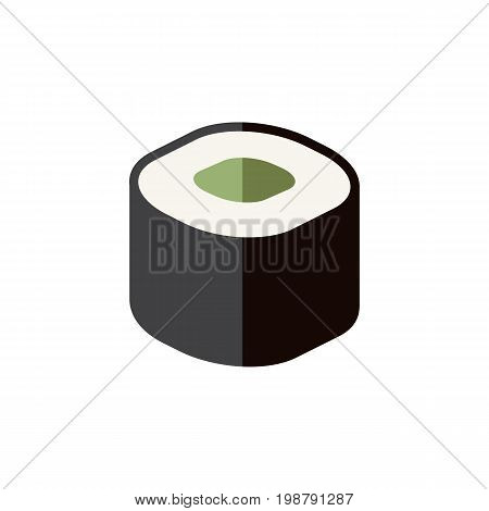Salmon Rolls Vector Element Can Be Used For Japanese, Food, Rolls Design Concept.  Isolated Japanese Food Flat Icon.