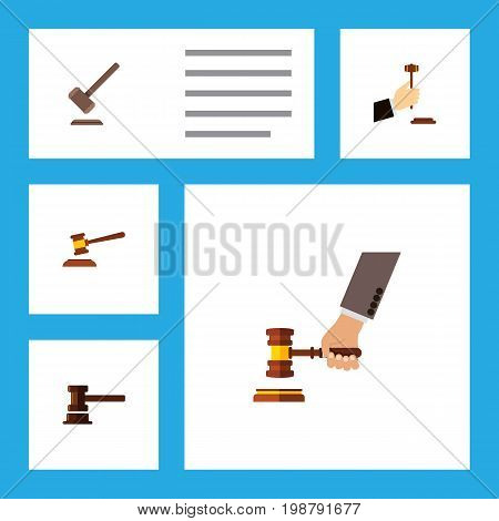 Flat Icon Lawyer Set Of Hammer, Crime, Tribunal And Other Vector Objects