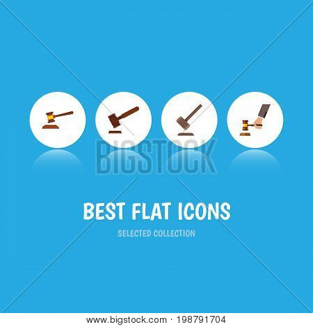 Flat Icon Court Set Of Tribunal, Justice, Hammer And Other Vector Objects