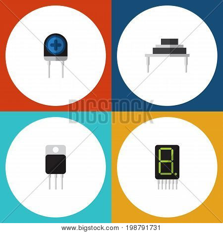 Flat Icon Electronics Set Of Destination, Transducer, Display And Other Vector Objects