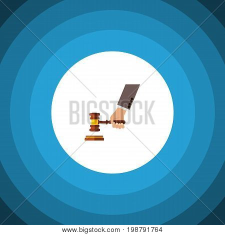 Crime Vector Element Can Be Used For Crime, Court, Hammer Design Concept.  Isolated Court Flat Icon.