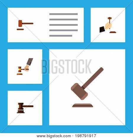 Flat Icon Court Set Of Crime, Tribunal, Defense And Other Vector Objects