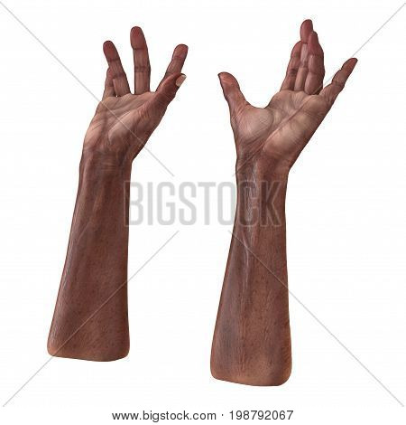 Wrinkled on old mans hand skin on white background. 3D illustration