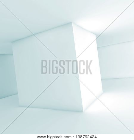 Cube Shaped Column. Square 3D Illustration, Blue