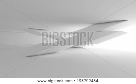 Abstract White Empty Interior, Cg Background 3 D