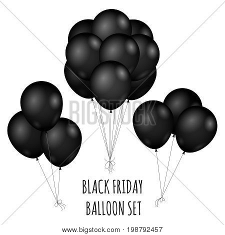 Black Friday flight rubber Balloons bouquet isolated on white background shopping sale grand opening entertainment symbol. Vector illustration