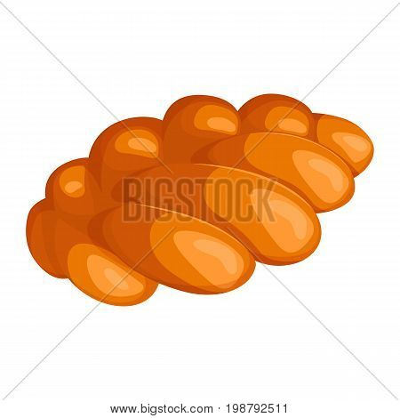 Realistic style braided bread with golden-brown crust. Angled view isolated vector illustration of bakery product baked in form of plait
